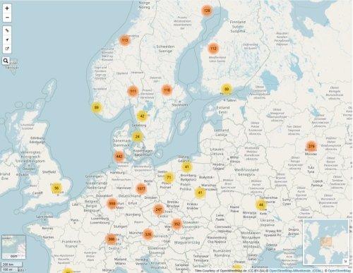 Anzeige von verknüpften Bildern auf einer Landkarte